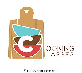 Cooking classes promo emblem with cutting board and bowls