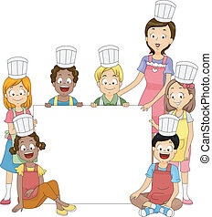 Cooking Club Banner - Banner Illustration Featuring Members...