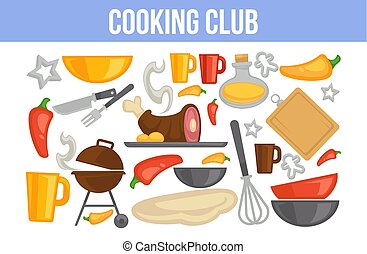 Cooking club poster with kitchenware and ingredients for dishes