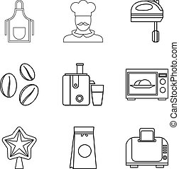 Cooking coffee icons set, outline style