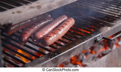 Cooking concept. Barbecue sausages grilled on a fire grill -...