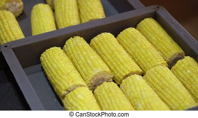 Cooking corn on grill closeup