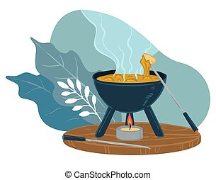 Cooking dinner in restaurant, pot with soup vector