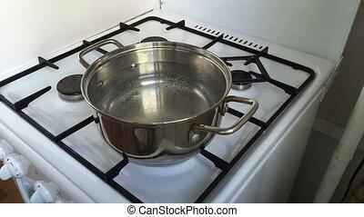 Cooking dumplings - Timelapse cooking dumplings. Boiling...