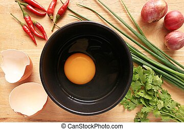Cooking eggs in the kitchen