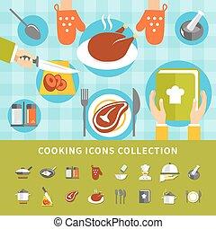 Cooking Elements Set - Cooking elements set with kitchen...