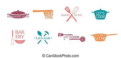 Cooking Emblems And Logos Set