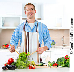cooking., ensalada, sano, -, joven, alimento, vegetal, hombre