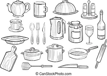 Cooking equipment set, kitchen utensil icons hand drawn vector illustration