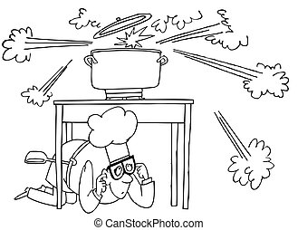 Cook sitting under the table during cooking explosion