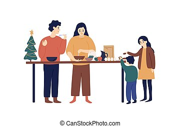 Cooking festive dinner flat vector illustration. Parents and kids cooking together cartoon characters. Christmas, New Year holiday preparation. Family and kitchen table isolated on white background.