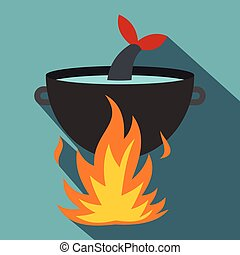 Cooking fish soup on a fire icon, flat style