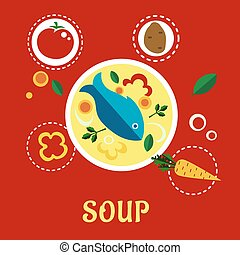 Cooking fish soup with sliced vegetables and herbs