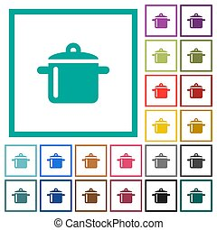 Cooking flat color icons with quadrant frames on white...