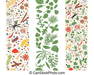 Cooking flat herbs and spices organised in three ribbons - ...