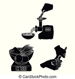 Cooking food black icons in set collection for design. Kitchen, equipment and tools vector symbol stock web illustration.