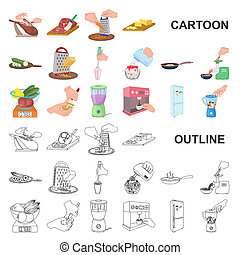 Cooking food cartoon icons in set collection for design. Kitchen, equipment and tools bitmap symbol stock web illustration.