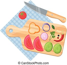 Cooking food concept. Natural vegetables with cutting board and knif.