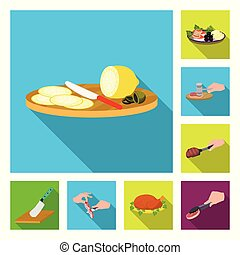 Cooking food flat icons in set collection for design. Kitchen, equipment and tools vector symbol stock web illustration.