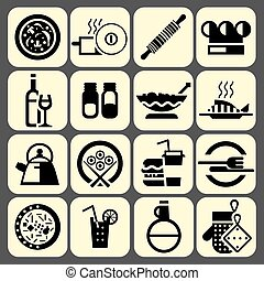Cooking food icons set black