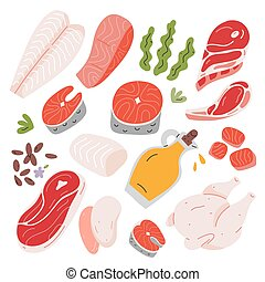 Cooking food ingredients, beef and lamb meat, salmon and white fish fillet ans steak, hand drawn vector illustration, isolated icons, flax seeds and vegetable oil. Vector illustration