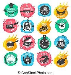 Cooking food lettering emblems