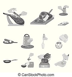 Cooking food monochrome icons in set collection for design. Kitchen, equipment and tools vector symbol stock web illustration.