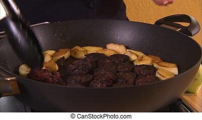 Cooking food on pan