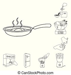 Cooking food outline icons in set collection for design. Kitchen, equipment and tools vector symbol stock web illustration.