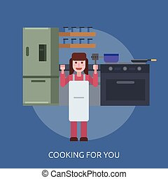 Cooking For You Conceptual illustration Design