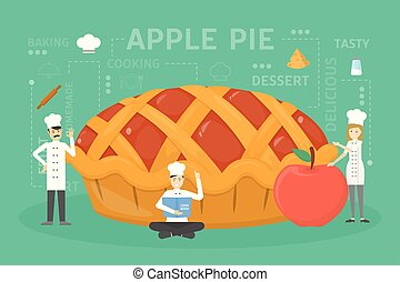 Cooking giant apple pie. Chefs in uniform building food.