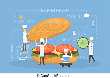 Cooking giant burger.