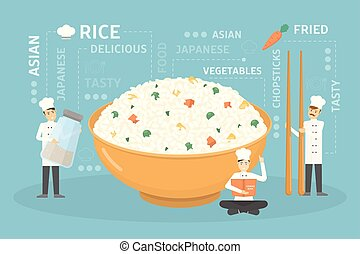 Cooking giant rice bowl.