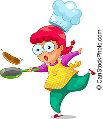 cooking girl - little girl cooking with a frying pan