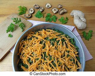Cooking goutweed vegetables gratin