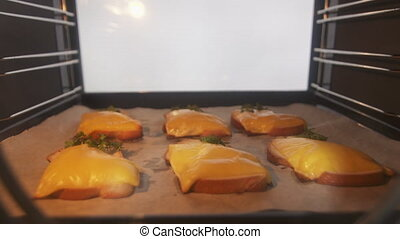 Cooking grilled cheese bread in the oven