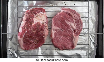 Cooking grilled steak ribeye in the oven with broiler top...