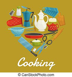 Cooking heart of kitchenware and utensils - Cooking sign of...