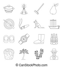 cooking, history,travel and other web icon in outline style.fitness, sport, fashion icons in set collection.