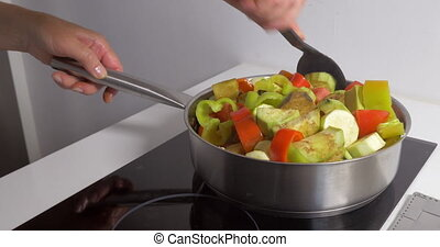 Cooking homemade vegetarian dish - Female hand stirring up...