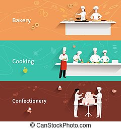 Cooking horizontal banners set with bakery and confectionery elements isolated vector illustration