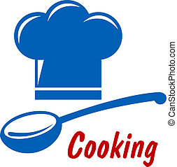 Cooking icon or symbol with chef hat, serving spoon and text...