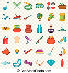 Cooking icons set, cartoon style