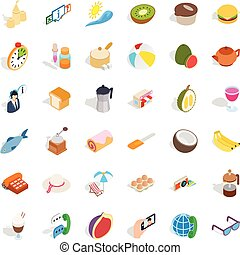 Cooking icons set, isometric style