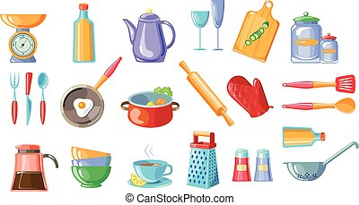 Cooking icons set, kitchen utensils with scales , frying pan, pot, teapot, grater, colander vector Illustrations on a white background