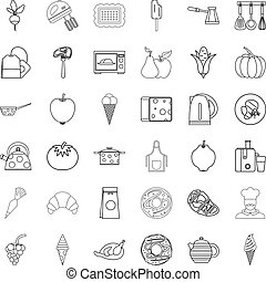 Cooking icons set, outline style