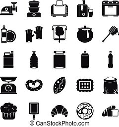 Cooking icons set, simple style