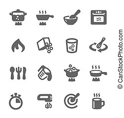 Simple set of cooking related vector icons for your design