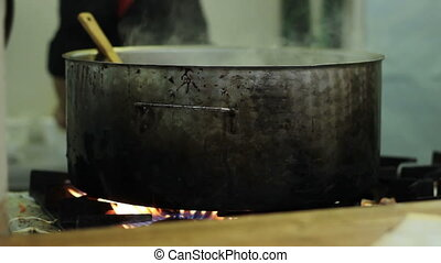 Cooking in a Large Pan