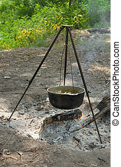 cooking in the pot on the nature